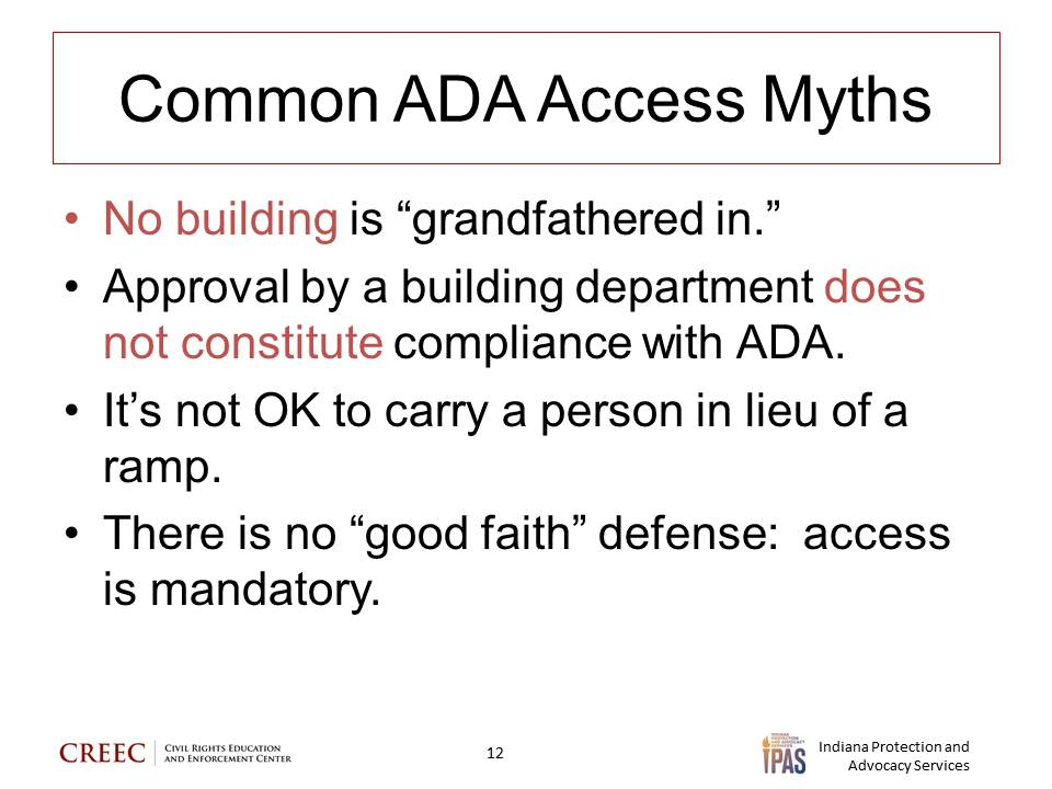 """Image: power point slide entitled """"Common ADA Access Myths"""" with the text """"No building is"""