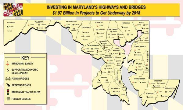 map of maryland showing future transportation public works projects to be completed by 2018