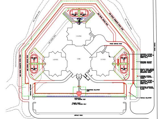 Image: sketch of prison with three living units on the left, right and top of the page; on the outside of each living unit, new exercise yards are sketched in red, each with a track and basketball court.
