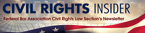 banner logo for the Civil Rights Insider with the name of the publication written across clouds and the top portion of the American flag