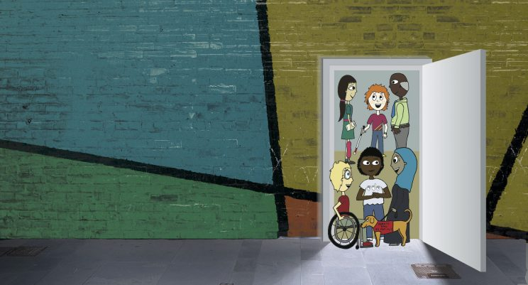 Illustration of diverse characters standing in an open doorway in a colorful wall