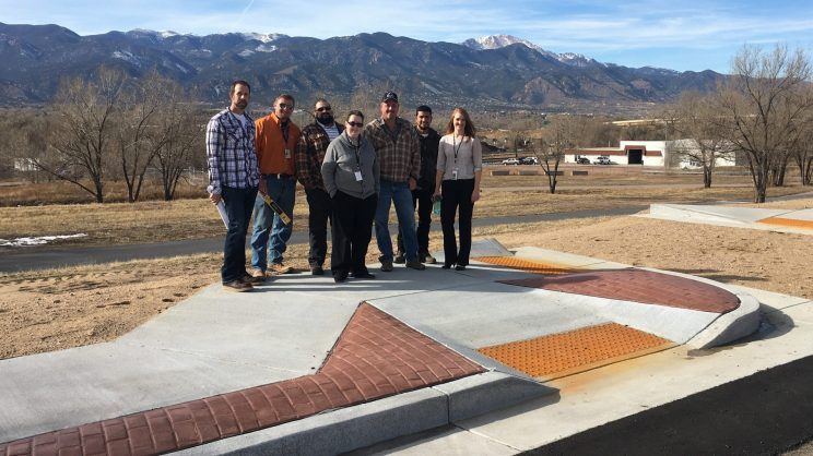 Martie Lafferty, Director of the Accessibility Project, pictured here with the colleagues at the Colorado Springs Curb Ramp Training Center