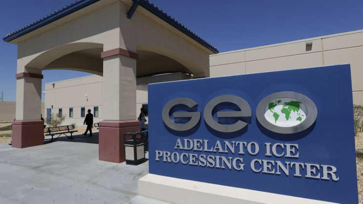 photo of GEO-run ICE detention center in Adelanto, CA.