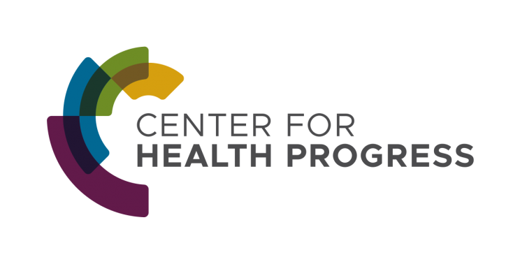 Center for Health Progress logo, a C made of yellow, green, and maroon color blocks, and the name of the Center in all caps font.
