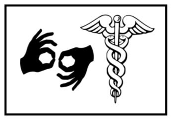 """Two icons: the ASL sign for """"interpreter"""" and the caduceus, the symbol for the medical profession."""