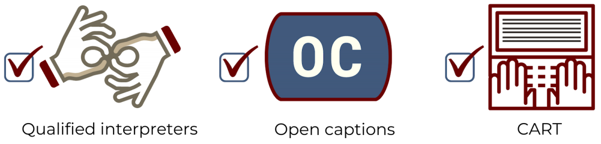Symbols for the following - Qualified interpreter, open captions, CART
